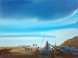 Fishing by Jiaur Rahman, , , Cyan color