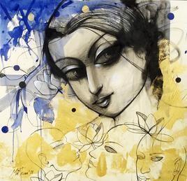 Lady I by Mithun Dutta, , , Beige color
