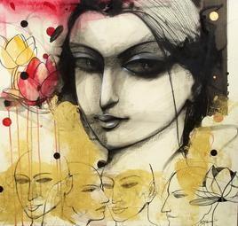 Lady II by Mithun Dutta, , , Beige color