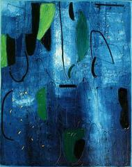That 5 by Hem Raj, Abstract, Abstract Painting, Oil on Canvas, Blue color