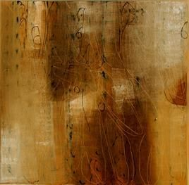 That 10 by Hem Raj, Abstract, Abstract Painting, Oil on Canvas, Brown color