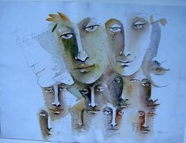 Faces From Crowd by Madan Lal, , , Cyan color