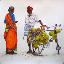 Coconut Seller by Siva Balan, , , Gray color