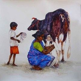 Cow With Woman by Siva Balan, , , Gray color