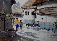 Way To A Village by Jiaur Rahman, , , Gray color