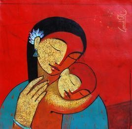 Mother & Child 101 by Ganesh Patil, , , Red color