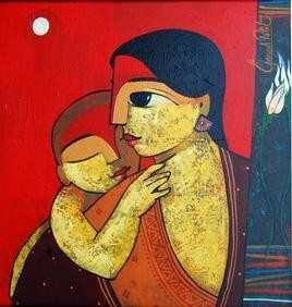 Mother & Child by Ganesh Patil, , , Red color