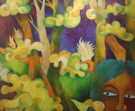 In The Woods by Chaitali Chatterjee, Expressionism Painting, Oil on Canvas, Brown color