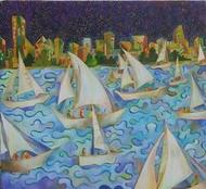 Boating by Chaitali Chatterjee, Painting, Oil on Canvas, Green color