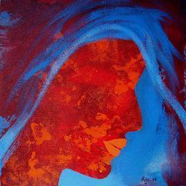 Face - 2 by Puja Sarkar, , , Blue color