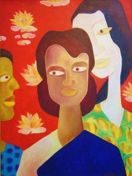 Lal Dighi by Chaitali Chatterjee, Painting, Oil on Canvas, Brown color