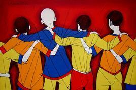 Friendship by Jiaur Rahman, , , Brown color
