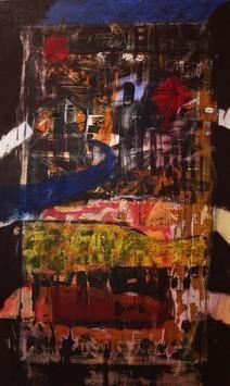 Landscape on Old Wall by Aditya Sagar, Naive, Naive Painting, Mixed Media on Canvas, Brown color