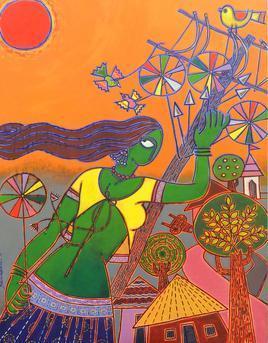 Toy Seller by Santanu Nandan Dinda, , , Brown color