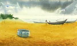 Coast 2 by Raktim Chatterjee, Painting, Watercolor on Paper, Beige color