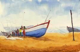 Fishermen 1 by Raktim Chatterjee, Painting, Watercolor on Paper, Beige color