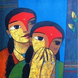 untitled by Ganesh Patil, Expressionism Painting, Acrylic on Canvas, Blue color