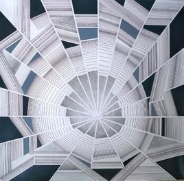 Space - XIII by S K Sahni, Geometrical, Geometrical Painting, Acrylic on Canvas, Pink color