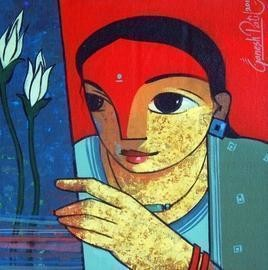 Untitled by Ganesh Patil, Decorative, Decorative Painting, Acrylic on Canvas, Blue color