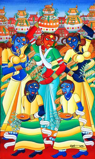 Bonalu by M D Rustum, Painting, Oil on Canvas, Beige color