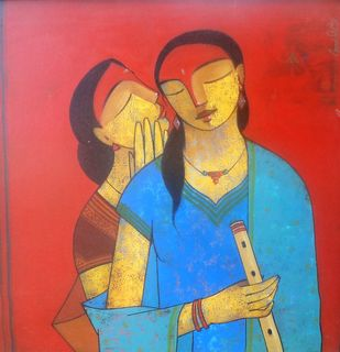Friends 116 by Ganesh Patil, Decorative, Decorative Painting, Acrylic on Canvas, Blue color