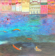 Celebrating Life by Aradhna Tandon, Expressionism Painting, Oil & Acrylic on Canvas, Cyan color