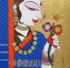 Face-14 by Varsha Kharatmal, , , Brown color