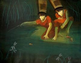Friend by Samir Sarkar, , , Green color