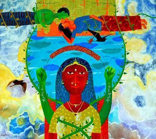 The Farmer Couple In Love by Gayatri Artist, , , Cyan color