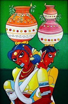 Telangana Sisters by M D Rustum, , , Green color