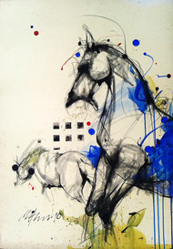 Motion by Mithun Dutta, Illustration, Illustration Painting, Mixed Media on Board, Beige color