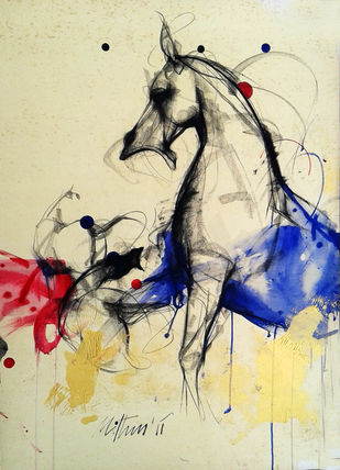 Untitled V by Mithun Dutta, Impressionism, Impressionism Painting, Mixed Media on Board, Beige color