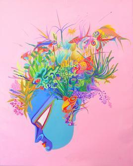 Untitled - 10 by Saumya Bandyopadhyay, , , Pink color