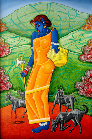 Tribal Lady by M D Rustum, Painting, Oil on Canvas, Green color