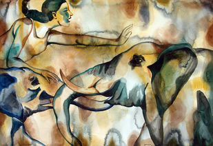 Everything Is Fair In Love N War by Nirmala Biluka, Impressionism Painting, Watercolor on Paper, Beige color