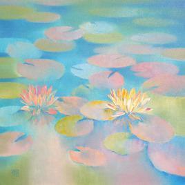 Waterlilies by Swati Kale, , , Cyan color