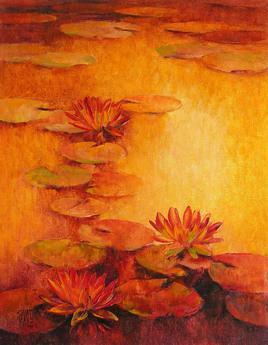 Waterlilies by Swati Kale, , , Orange color