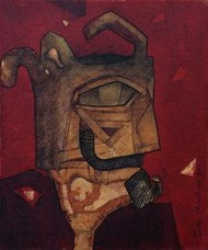 The King by Partha Chowdhury, Painting, Acrylic on Canvas, Brown color