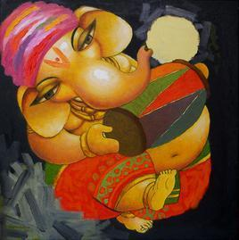 Ganesha by Surendra Pal Singh, , , Brown color