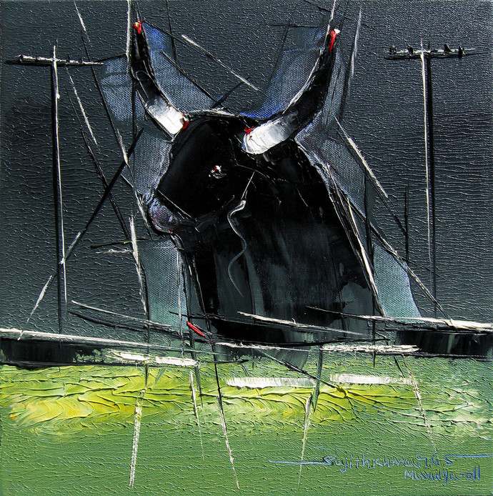 Bull - 09 by Sujith Kumar GS Mandya, Impressionism, Impressionism Painting, Oil on Canvas, Green color