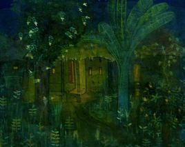 An Evening by Atin Mitra, Impressionism Painting, Tempera on Board, Green color