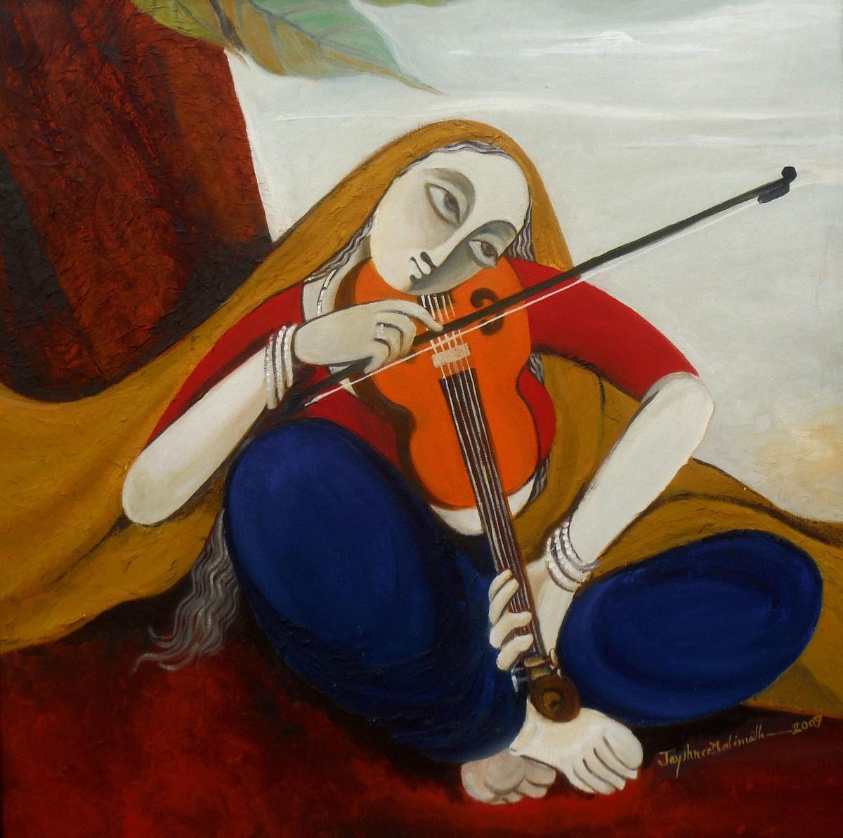 Musician 03 Digital Print by Jayshree P Malimath,Traditional, Traditional