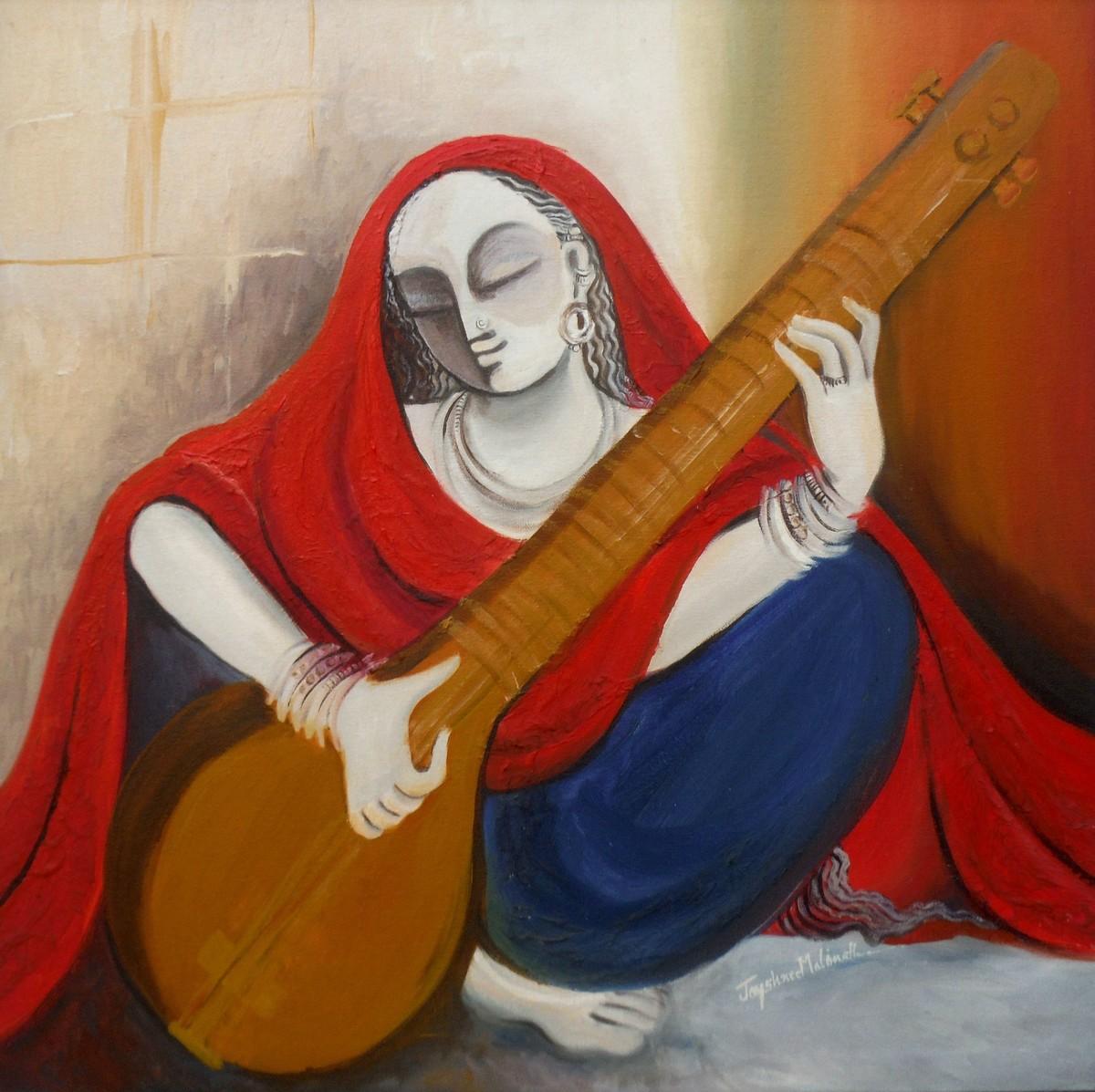 Musician 04 Digital Print by Jayshree P Malimath,Traditional, Traditional