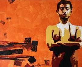 Social Ties-XIV by Ranjan Kumar Mallik, Painting, Acrylic on Canvas, Orange color