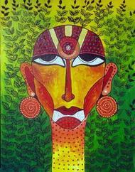 Face 01 by Pragati Sharma Mohanty, , , Green color