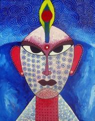 Face 02 by Pragati Sharma Mohanty, , , Blue color
