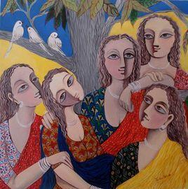 Friends by Jayshree P Malimath, , , Brown color