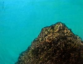 Human valley 2 by Apurva Singh, Conceptual Painting, Mixed Media on Canvas, Cyan color