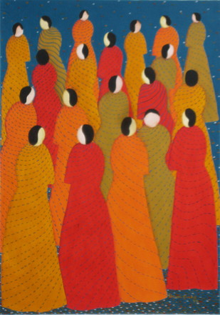 Chateratti - 4 by Hemavathy Guha, Decorative, Decorative Painting, Acrylic on Paper, Orange color