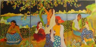 Plucking Berries by Chaitali Chatterjee, Decorative, Decorative Painting, Oil on Canvas, Brown color